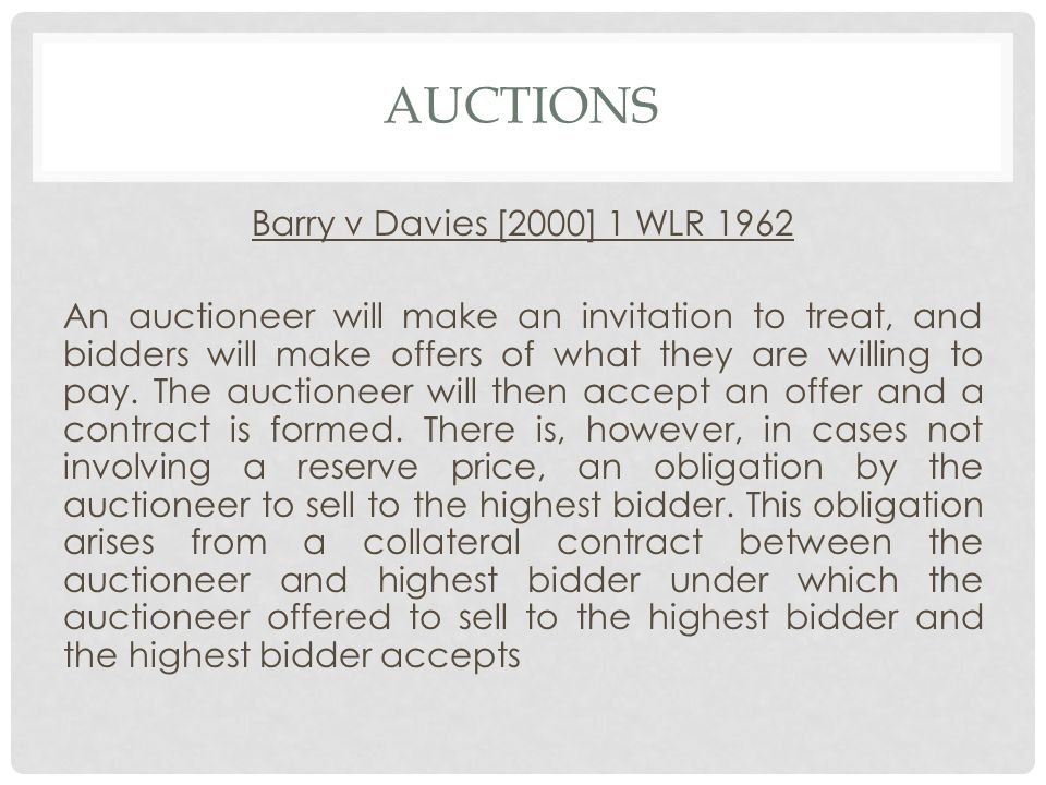 Auctions Barry v Davies [2000] 1 WLR 1962